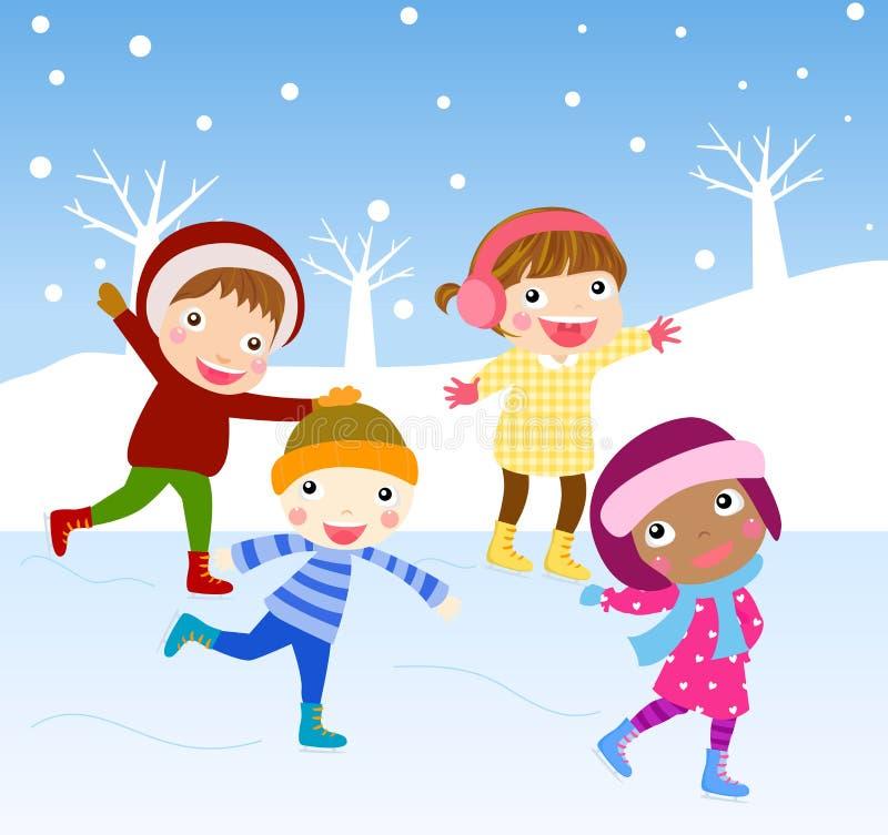 动画片滑冰的孩子 皇族释放例证