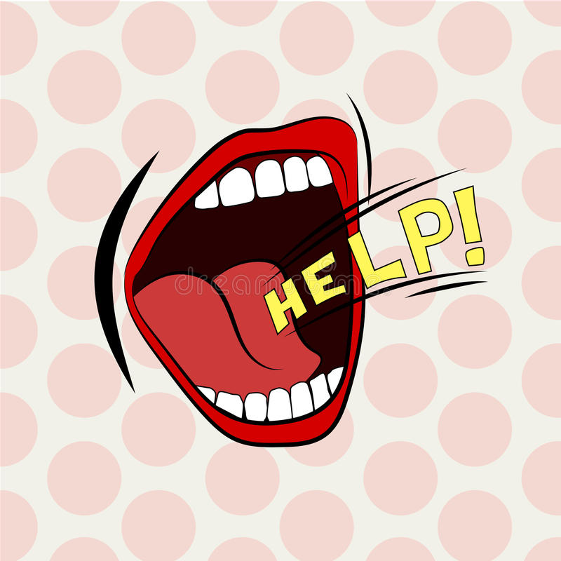 动画片嘴大声的帮助 时髦的色的设计 尖叫,呼喊,啼声 库存例证
