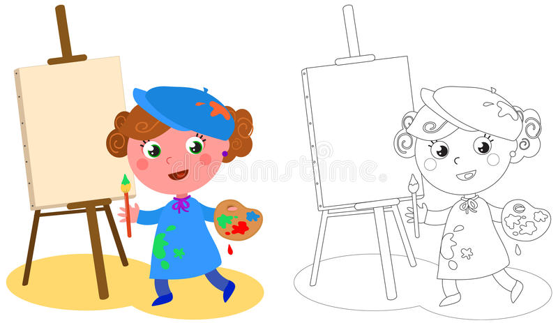 年轻动画片画家着色传染媒介 库存例证