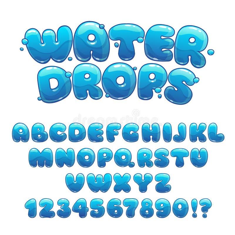 动画片水投下字体 皇族释放例证