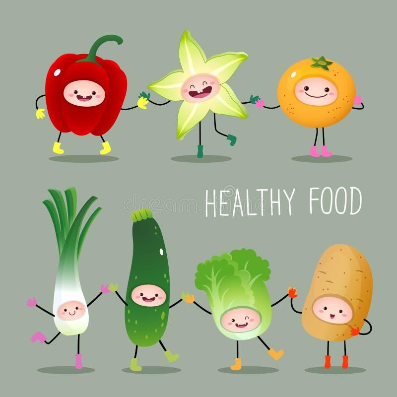 动画片水果和蔬菜的汇集 向量例证