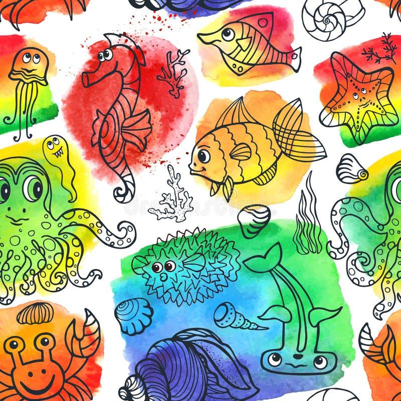 动画片滑稽的海洋生活乱画无缝的样式 库存例证