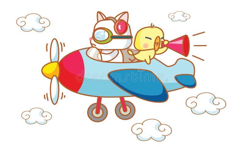 动画片滑稽的猫和小鸡在飞机上 皇族释放例证