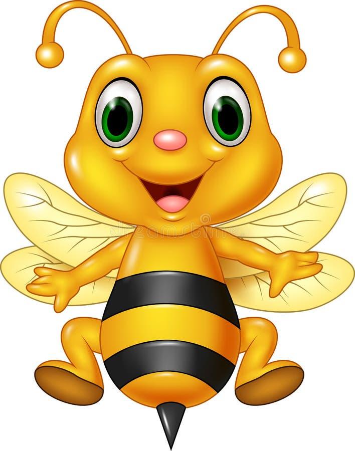 动画片滑稽的蜂飞行 背景查出的白色 向量例证