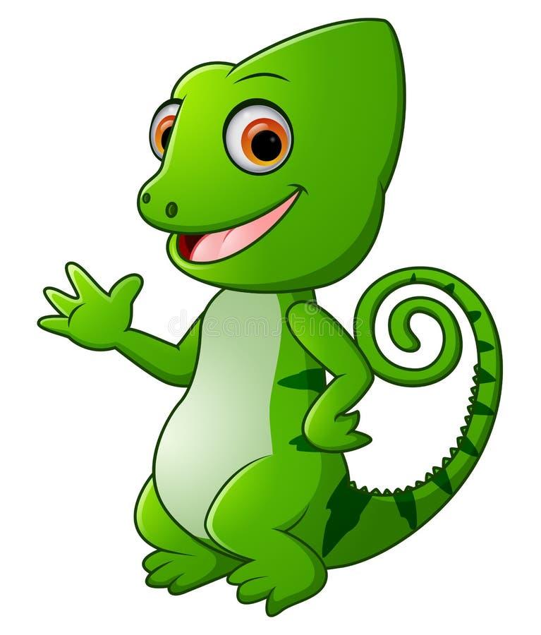 动画片滑稽绿蜥蜴摆在 皇族释放例证