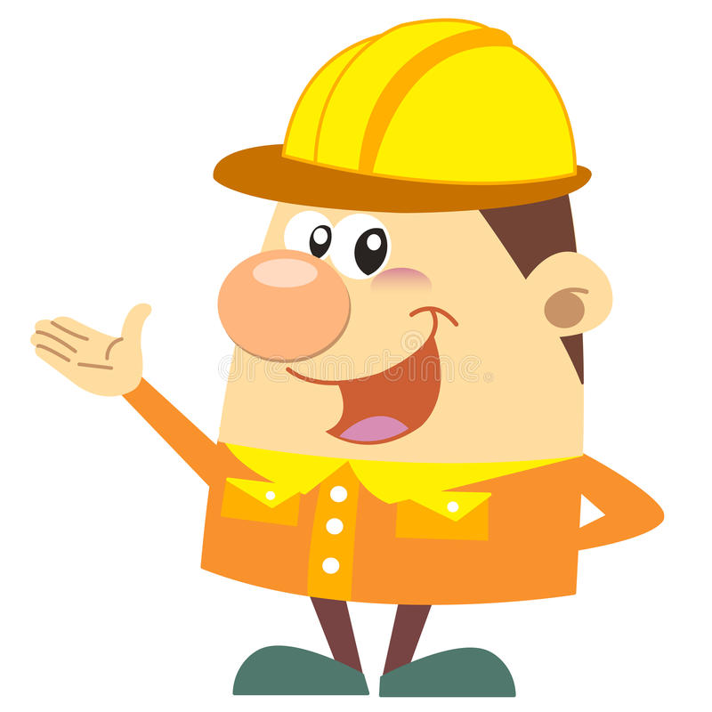 动画片建筑工人有白色背景 库存照片