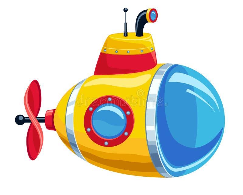 动画片黄色和红色潜水艇 库存例证