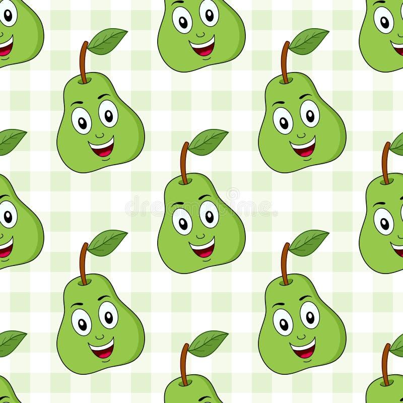 动画片绿色梨无缝的样式 向量例证