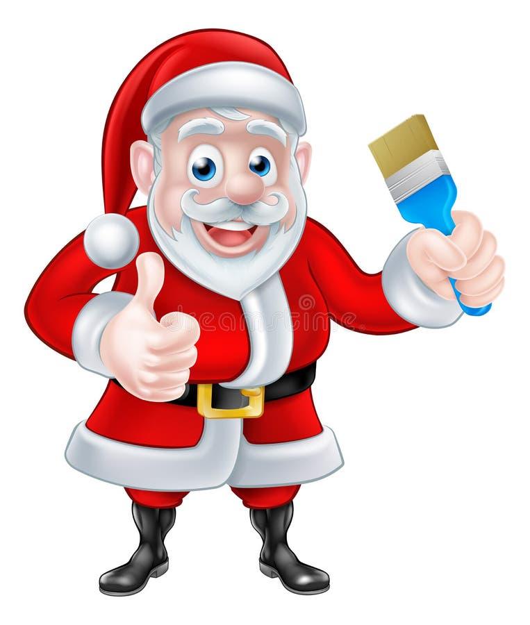 动画片给赞许和拿着油漆刷的圣诞老人 向量例证