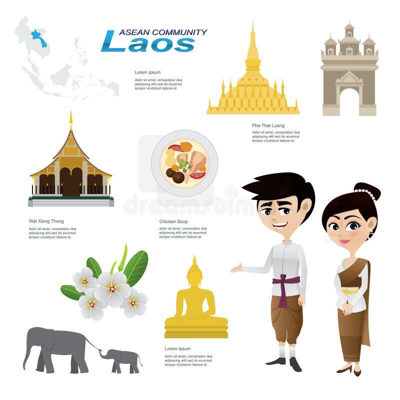 动画片infographic老挝东南亚国家联盟社区 皇族释放例证