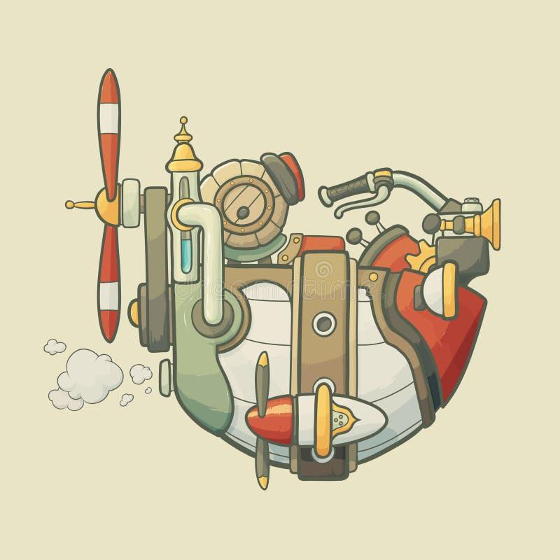 动画片steampunk称呼了飞行飞艇与 向量例证