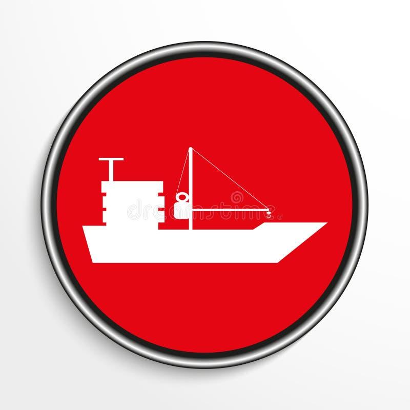 活动货物汉堡端口船 在红色背景的白色象 皇族释放例证