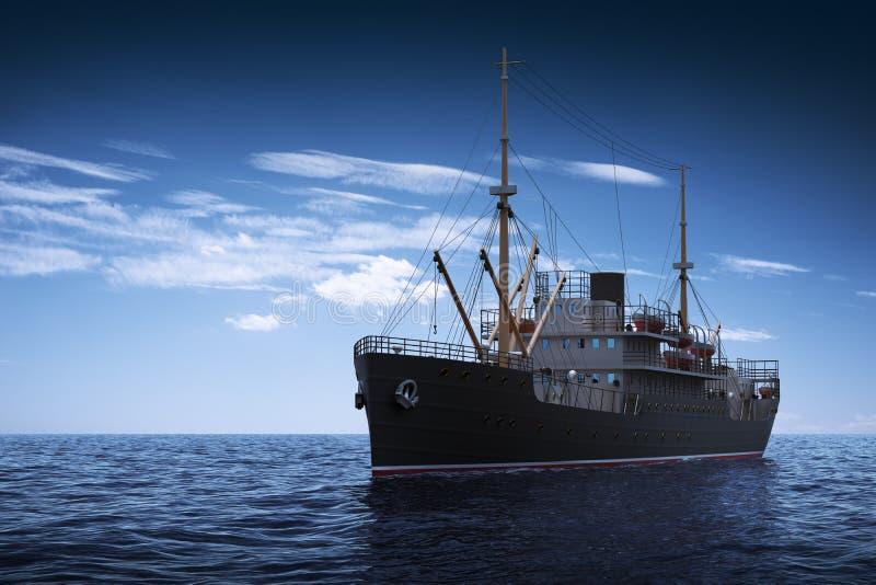 活动货物汉堡端口船 3d场面 库存例证