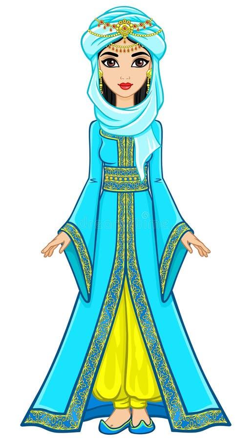 動畫阿拉伯公主的畫象古老衣服的圖片