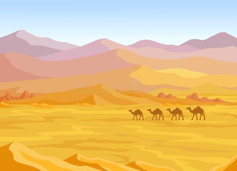 动画风景:沙漠,骆驼有蓬卡车  皇族释放例证