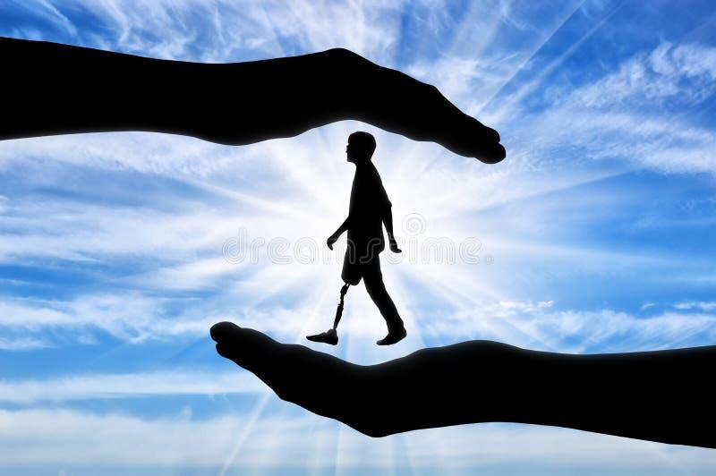 援助和关心的概念残疾的 免版税库存照片