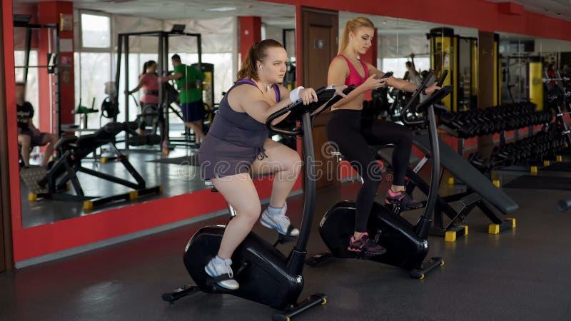 努力工作在固定式自行车的肥满妇女取得结果,健身,体育 免版税库存图片