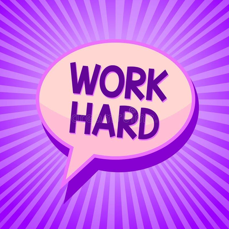努力概念性手文字陈列工作 企业照片付出努力做和完成任务的文本劳动 向量例证