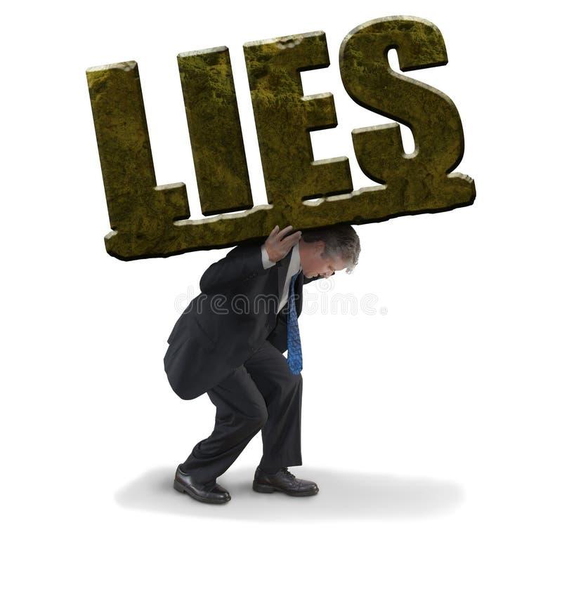 努力的人运载重的石头说谎代表说谎的极端负担 库存图片