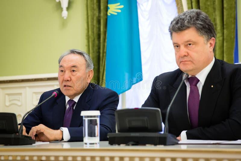 努尔苏丹・纳扎尔巴耶夫和Petro波罗申科 免版税库存照片