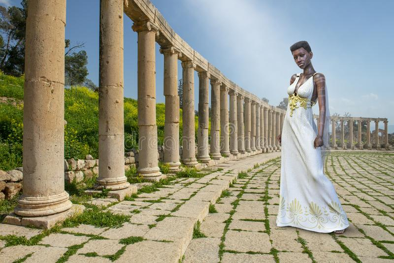 努比亚人女神女王/王后,幻想妇女 向量例证