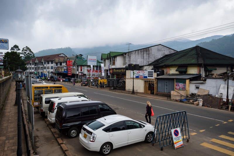 努沃勒埃利耶,斯里兰卡- 2012年12月:城市街道看法  免版税库存照片