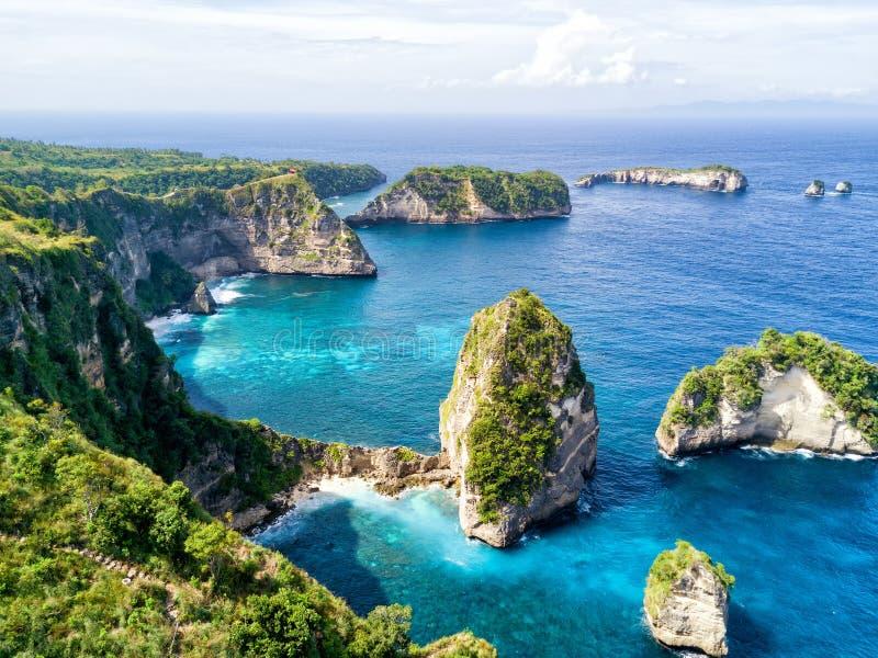 努沙penida海岸好的看法  免版税库存图片