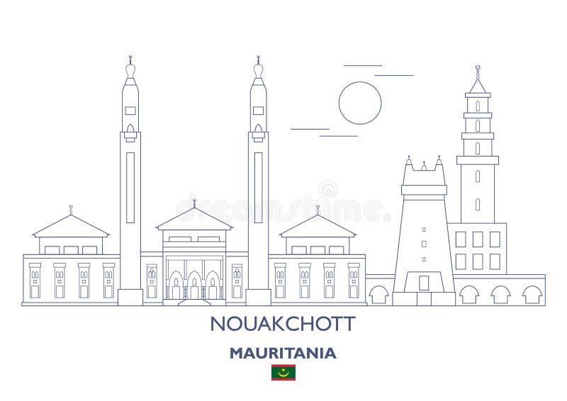 努瓦克肖特市地平线,毛里塔尼亚 向量例证