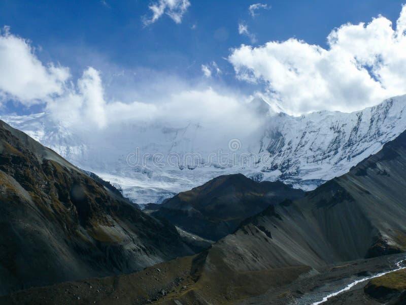 努瓦尔的大鹏-从Tilicho营地,尼泊尔的安纳布尔纳峰范围 免版税库存图片
