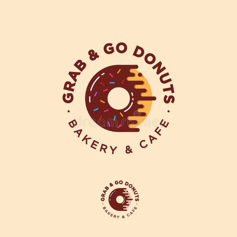 劫掠并且去油炸圈饼商标 面包店和油炸圈饼咖啡馆象征 巧克力多福饼用小糖果 库存例证