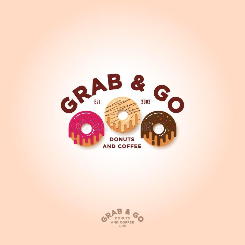 劫掠并且去油炸圈饼商标 面包店和油炸圈饼咖啡馆象征 库存例证