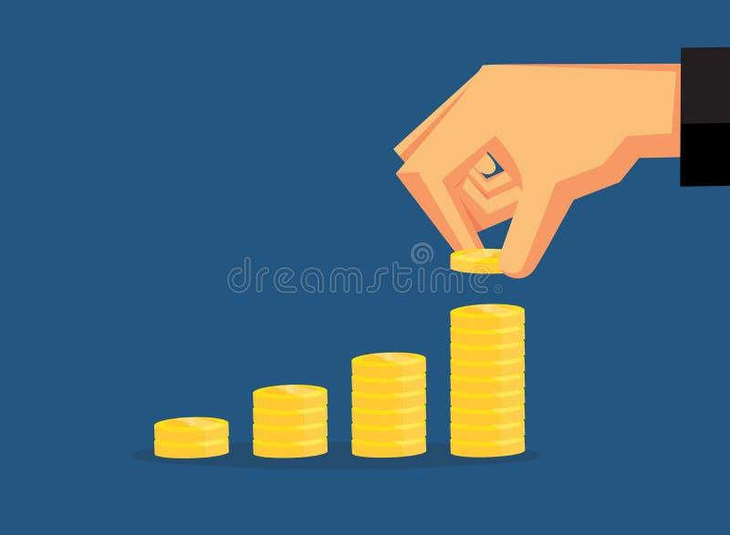 劫掠硬币被安排在层数 库存例证