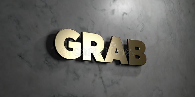 劫掠-在光滑的大理石墙壁登上的金标志- 3D回报了皇族自由储蓄例证 向量例证