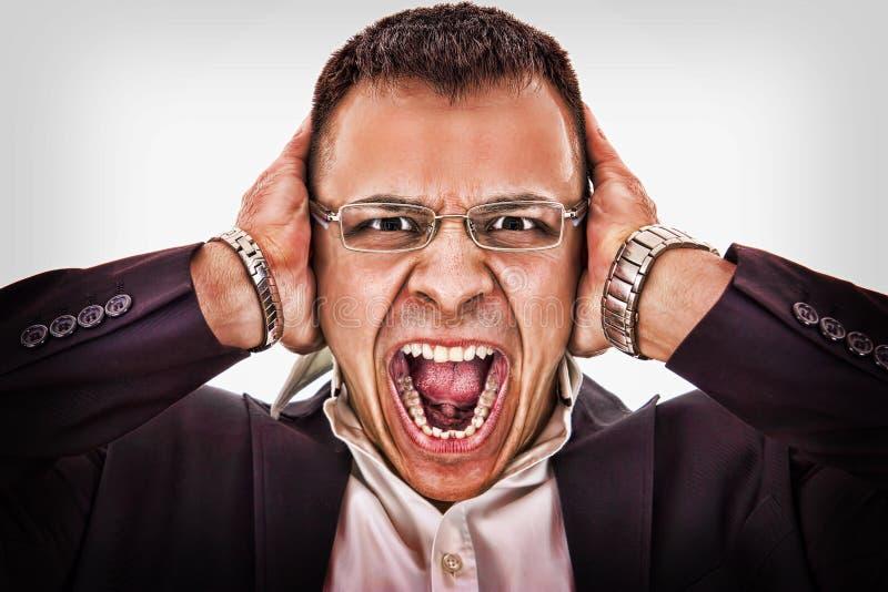 劫掠他的头和叫喊的商人 图库摄影