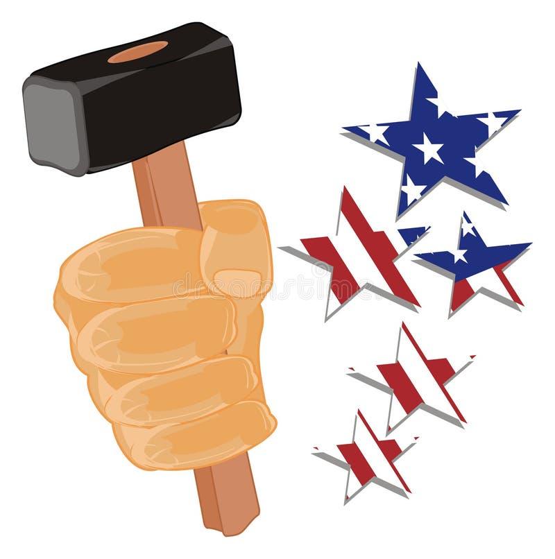 劳动节和美国星 皇族释放例证