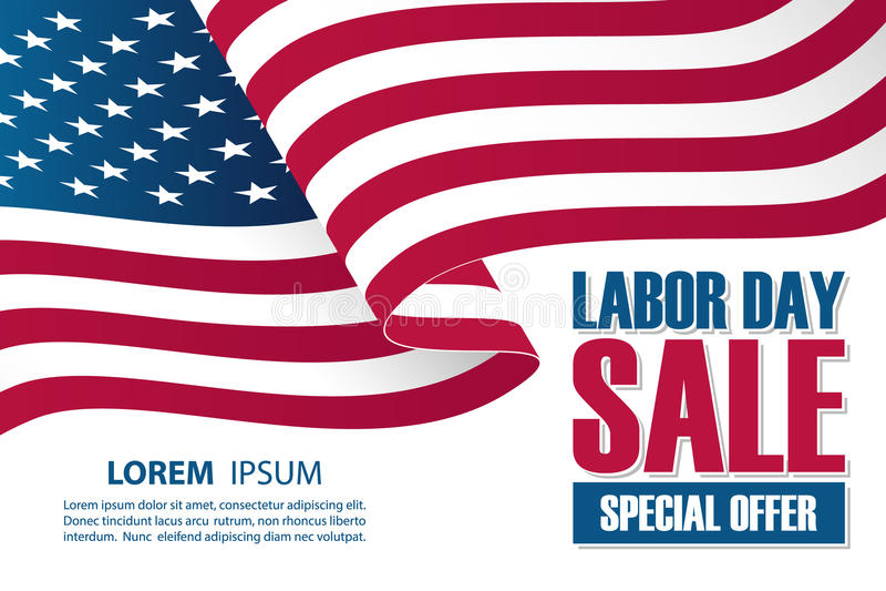劳动节销售与挥动美国国旗的横幅模板 特价优待事务的假日背景 库存例证