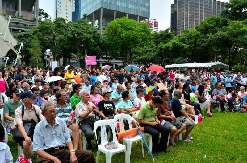 劳动节集会的新加坡抗议者 库存照片