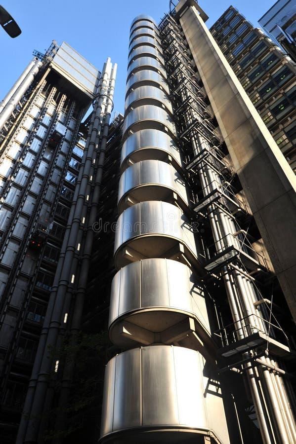 劳埃德大厦,现代建筑学在伦敦,英国 免版税库存照片