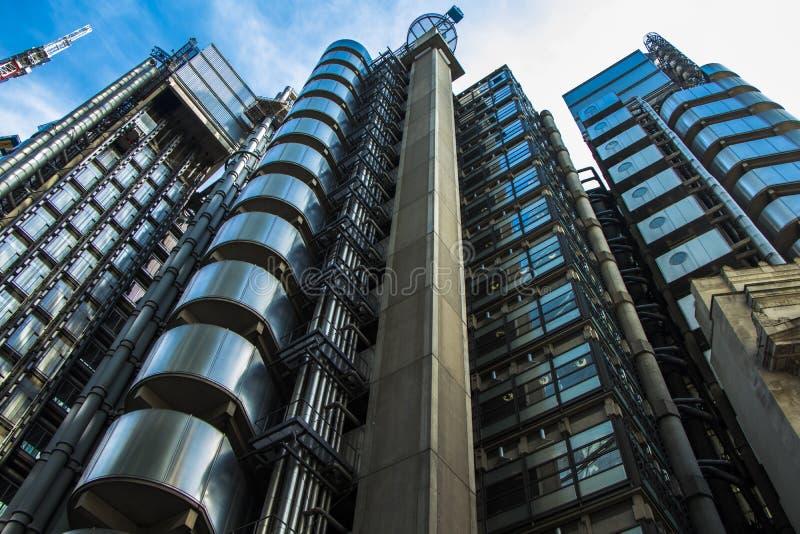 劳埃德` s大厦在伦敦` s财政区 免版税库存图片