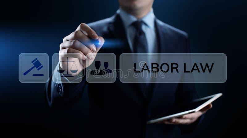 劳工法,律师,律师,法律建议在屏幕上的企业概念 免版税库存图片