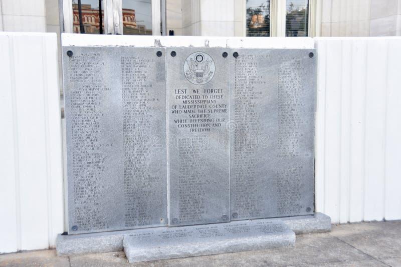 劳德代尔县退伍军人纪念品,子午线,密西西比 库存照片