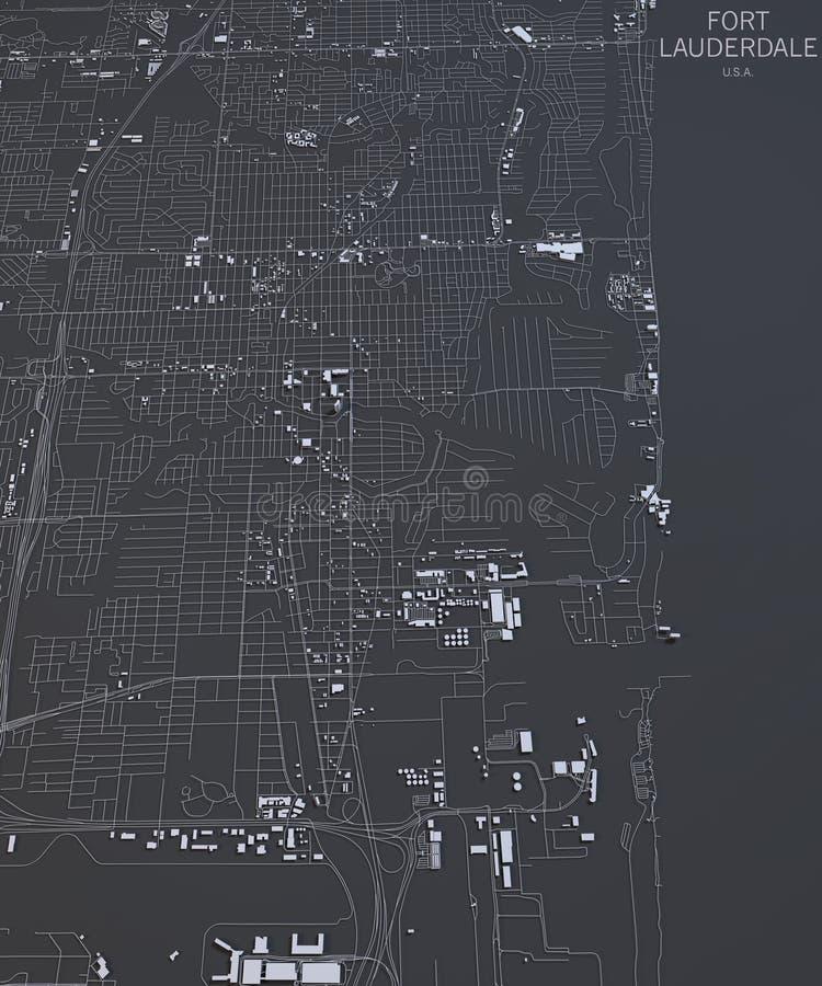 劳德代尔堡,卫星看法美国地图  库存照片