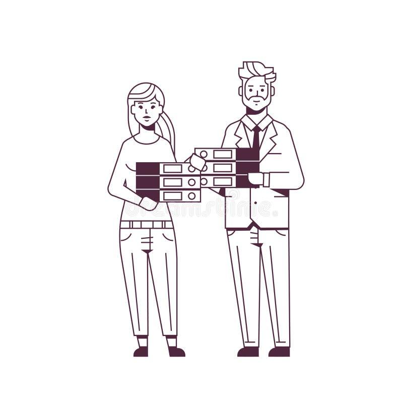 劳累过度的买卖人人妇女藏品文件夹堆夫妇超载了一起站立文书工作概念的工友 皇族释放例证