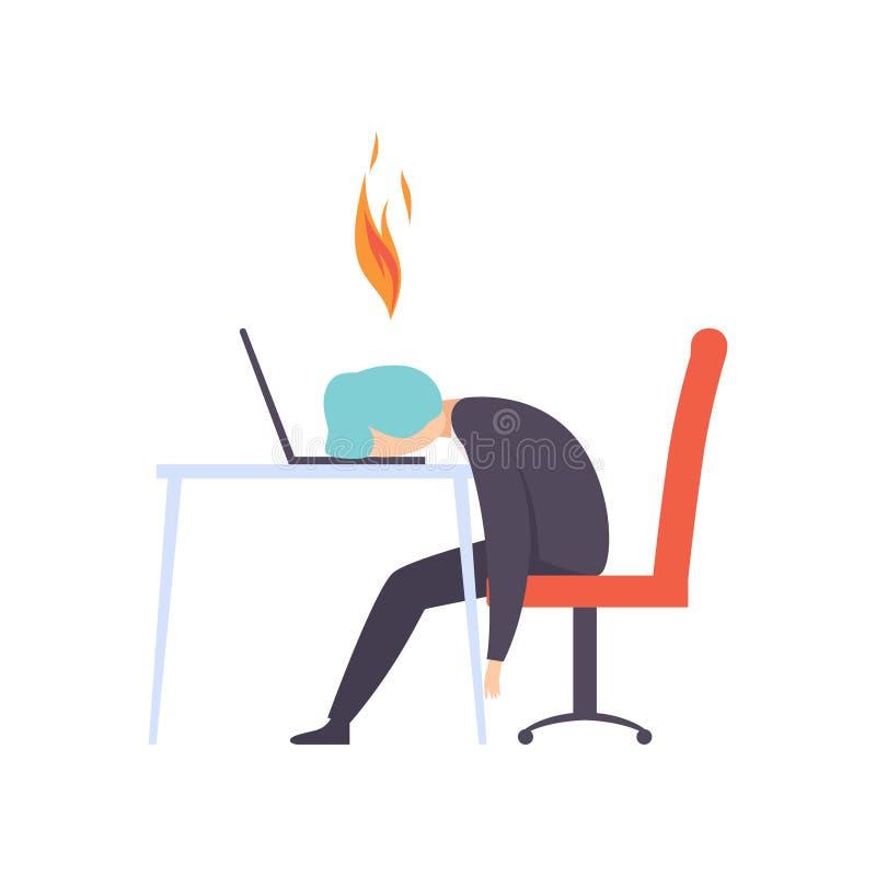 劳累过度的被用尽的人坐在他的有计算机的工作场所的在办公室,与燃烧的脑子的商人,情感 皇族释放例证