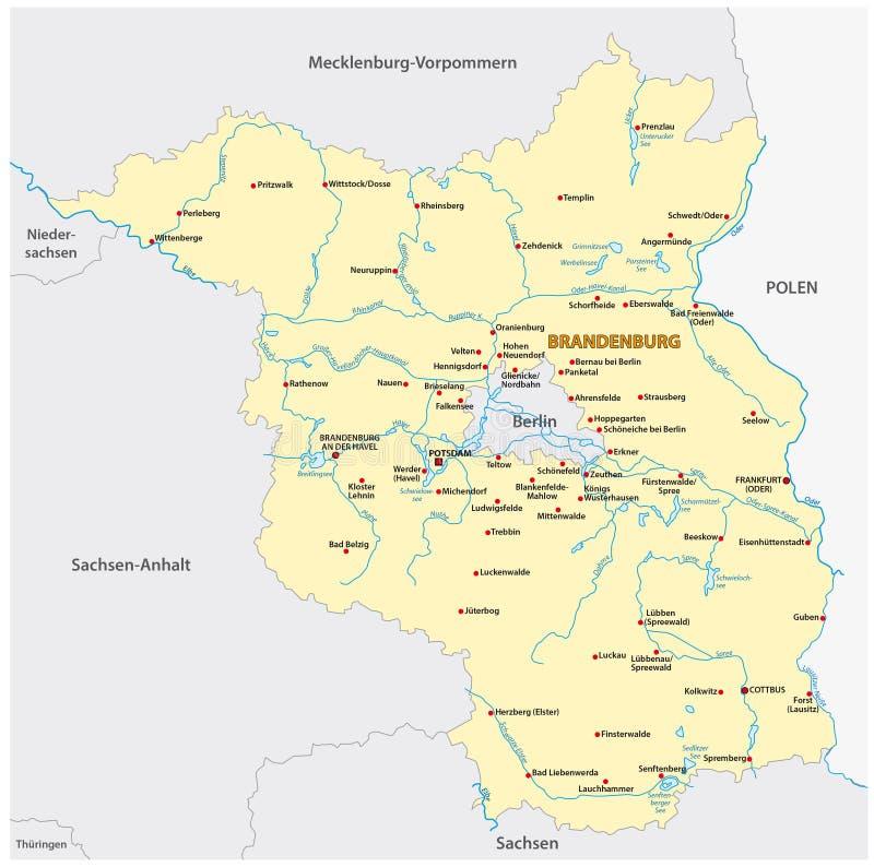 勃兰登堡状态的地图德国languageBrandenburg的,德国,状态,欧洲,中央,地图,勃兰登堡,德国,边界, 向量例证
