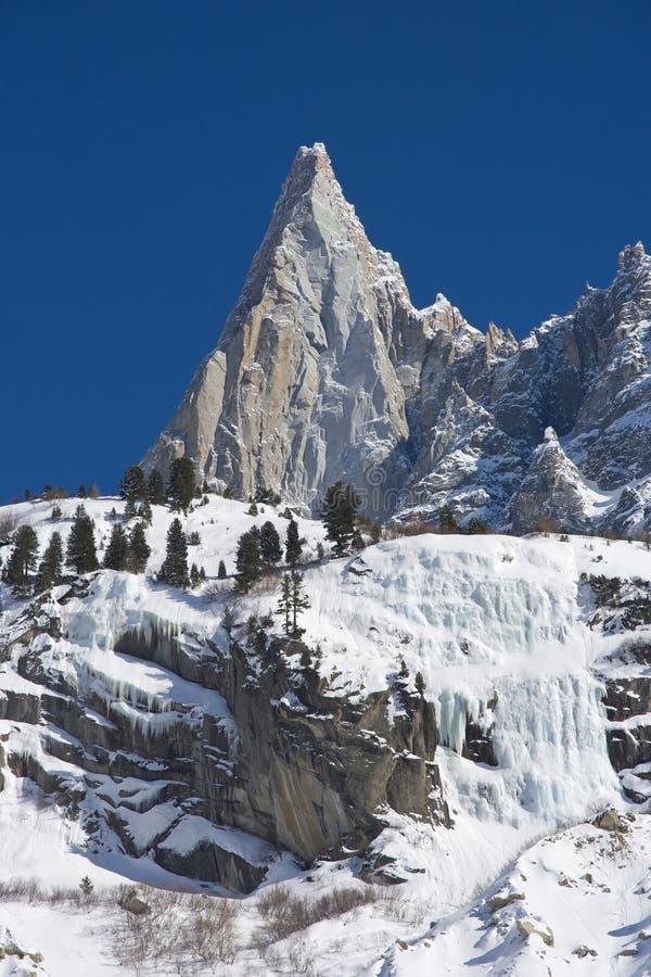 勃朗峰断层块的Aiguille du德鲁山 免版税图库摄影