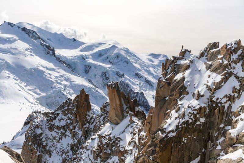 勃朗峰,法国,在山的美好的日出 免版税库存照片