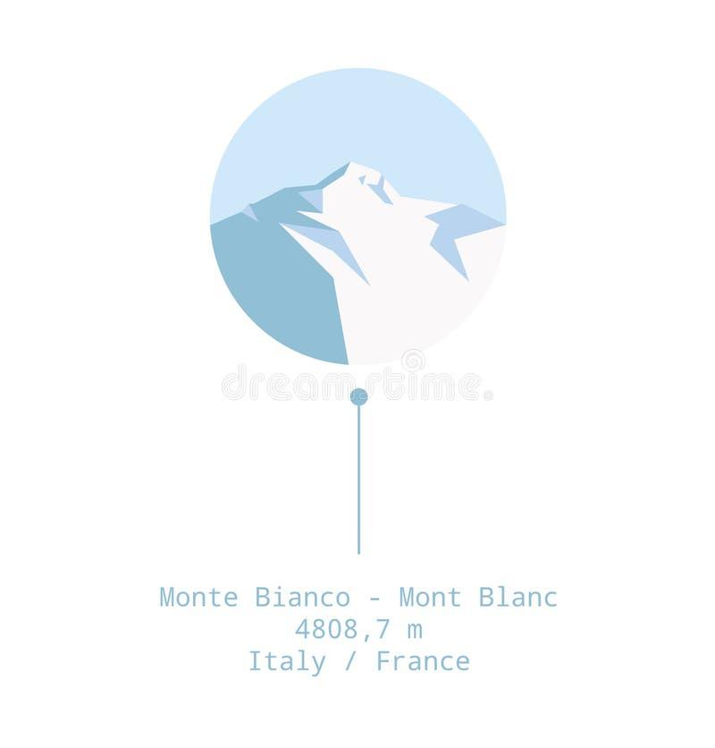 勃朗峰Monte Bianco例证 免版税库存图片