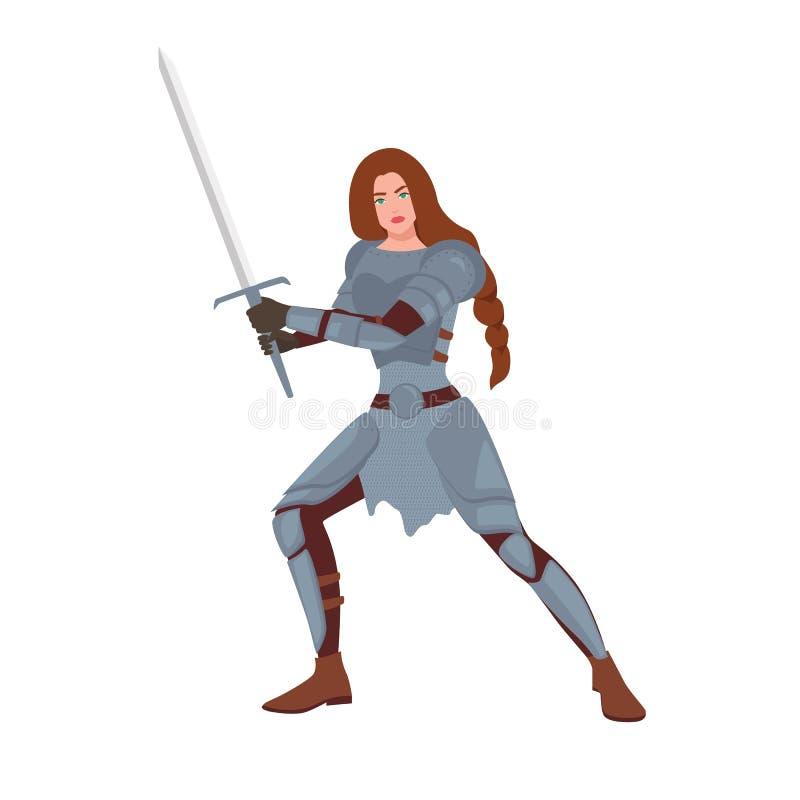勇敢的女性战士或中世纪骑士 妇女藏品剑和身分在白色隔绝的战斗的姿态 库存例证