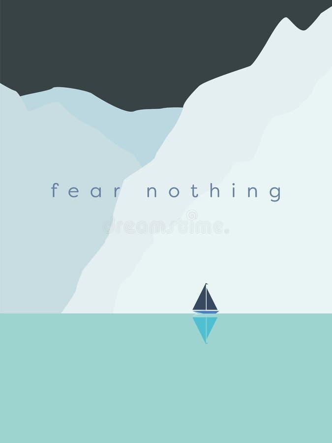 勇气和勇敢与风船航行的概念传染媒介在巨大的冰川、冰山或者峭壁旁边在冷气候 库存例证